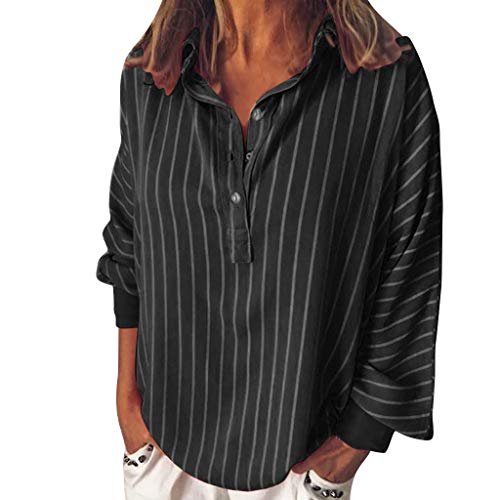 Meikosks Women's Button Lapel Blouses Long Sleeve Shirt Tops Striped Printed Tunic Plus Size T Shirt Black
