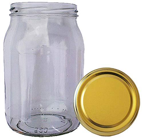 Wamat 900 ml Einweckgläser mit Deckel Gold Einmachgläser Vorratsgläser Einmachglas Weck (Menge: 32 Stück)