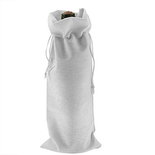 Zerodis Bolsas de Vino Tinto de 12 Piezas para Botellas de Vino Tela de Lino Simple con Cubierta Decorativa de champán con cordón(Blanco)