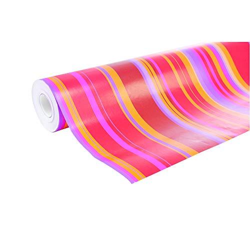 Clairefontaine 211202C - Une bobine papier cadeau Alliance 50mx0m70 60g, Rayures Rouge, or et rose