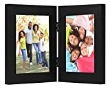 Americanflat 4x6 Inch Hinged Picture Frame with Glass Front - Displays 2 4x6 Inch Pictures, Stands Vertically on Desktop or Table Top