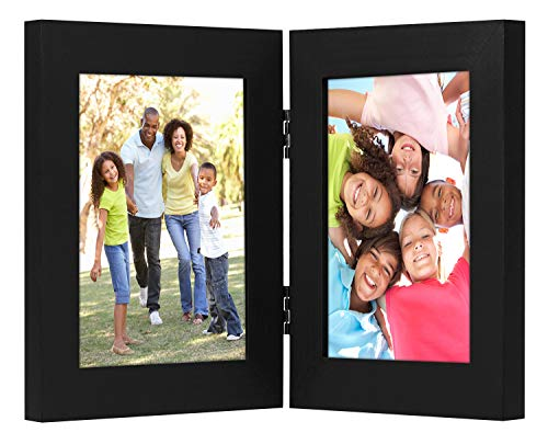 Americanflat 4x6 Inch Hinged Picture Frame with Glass Front - Made to Display 2 4x6 Inch Pictures, Stands Vertically on Desktop or Table Top