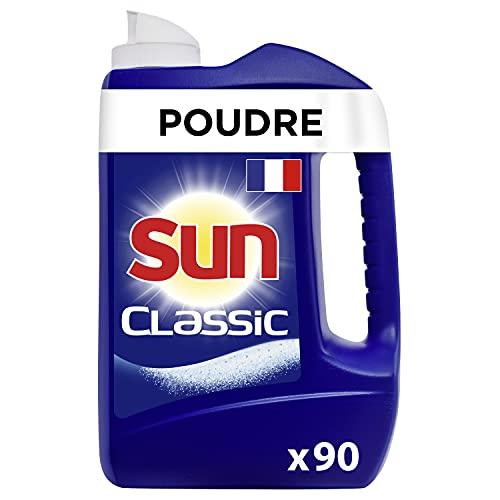 Sun Poudre de Lavage Lave-Vaisselle Classic x90, Efficace contre les tâches les plus tenaces, Formule concentrée et efficace, Fabriqué en France, 90 Lavages