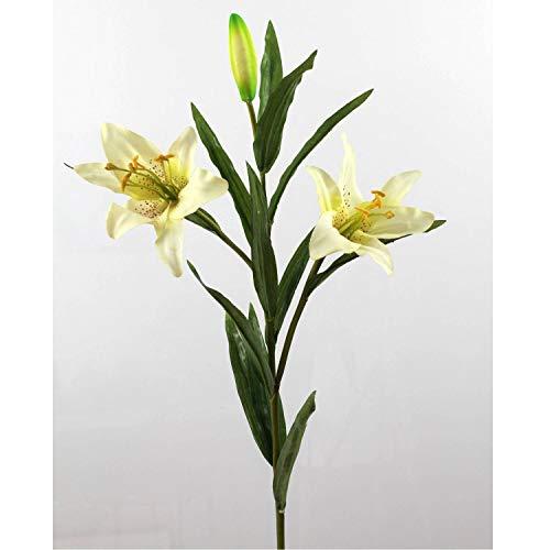 artplants.de Künstliche Prachtlilie, 2 Blüten, real Touch, weiß, 88cm, Ø 15cm - Kunstblume - Künstliche Lilie