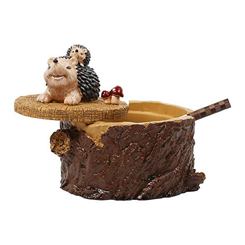 SEA or STAR Outdoor Ashtrays for Cigarettes Cute Resin Hedgehog Ashtray with Lid for Home and Garden