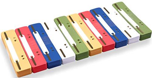 perfect line 250 Recycling Heft-Streifen bunt, Natur-Karton Akten-Dulli in 5 Farben, Laschen in 250 g, bunte Hefter-Zungen aus Pappe, perfektes Zubehör zum Trennen & Sortieren von Dokumenten im Büro