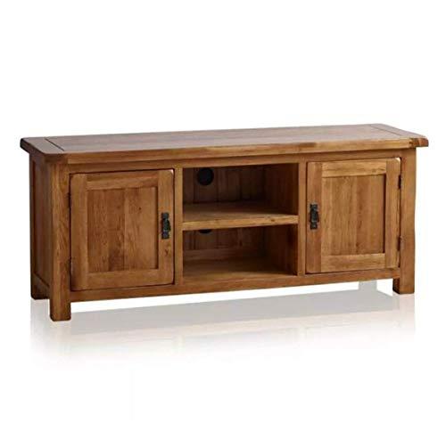 Grand meuble TV rustique en chêne massif pour salon
