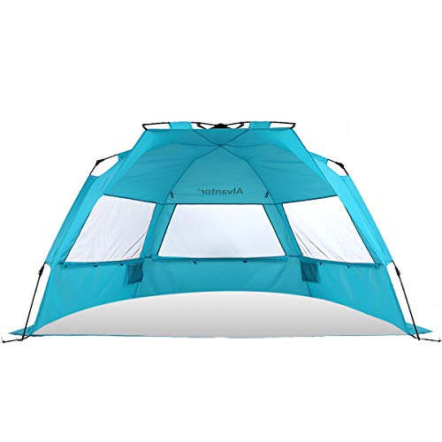 Alvantor Beach Tent Super Bluecoast Beach Umbrella Outdoor Sun Shelter Cabana Pop-Up UPF 50+ Sun shade Portable Camping Fishing Hiking Canopy Light Weight Windproof Stable (HUB PATENT PENDING) 7010V