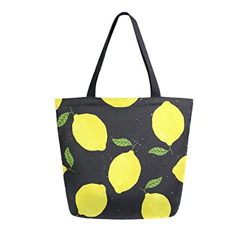 Mnsruu ALAZA - Bolso de Mano para Mujer, Reutilizable, diseño de Hojas de limón, Color Amarillo