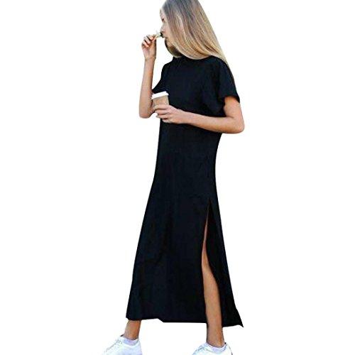 Lenfesh Frauen Kurzarm Kleid, Sexy Seitlicher Schlitz T-Shirt Schwarz (M, Schwarz)