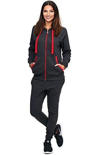 Violento Damen Jogging-Anzug | Uni 704 (XXL-fällt groß aus,Anthrazit-rot)