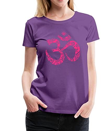 Spreadshirt Yoga Om Zeichen Aum Meditation Mehndi Frauen Premium T-Shirt, S, Lila