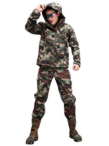 YuanDian Herren Herbst Winter Taktische Camouflage Jacke Und Hose 2 Stück Set Outdoor Wandern Jagd Wasserdicht Winddicht Trekking Militär Combat Fleece Softshell Mäntel Und Hosen Dschungel Camo 2XL