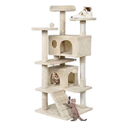 Yaheetech Kratzbaum Stabiler Katzenbaum Katzenkratzbaum Katzenmöbel, Kletterbaum für Katzen 130 cm Hoch Beige