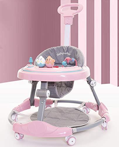 Olz Andador Bebe, Silla de Bebe Plegable y Ajustable para bebés de 6 a 18 Meses,Safety 1st Andador bebé Primeros Asiento alcochado, Base Antivuelco,Rosado