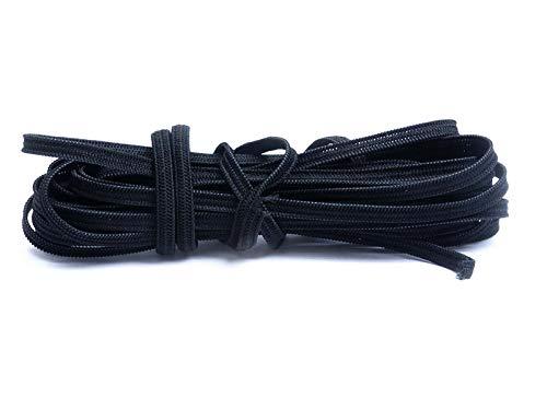 Elastisch koord, stretchband, elastische draad, om zelf maskers te maken om zelf maskers te knutselen. 4m Zuschnitt Zwart, 4 mm plat.