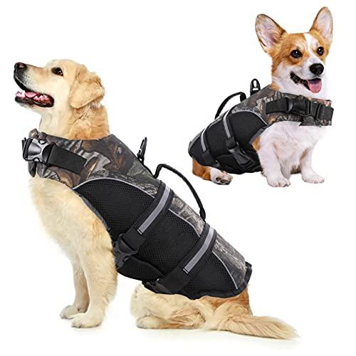 KOESON Dog Life Jacket Dog Safety Life Vest, Ripstop Pet Flotation Lifesaver with Rescue Handle &...
