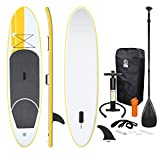 ECD Germany Stand up paddle board gonflable SUP - 308 x 76 x 10 cm - Jaune - PVC - Pagaie en aluminium/PVC - comprend pompe, sac...