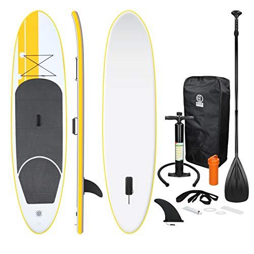 ECD Germany Aufblasbares Stand Up Paddle Board | 308 x 76 x 10 cm | Gelb | PVC | bis 120kg | inkl. Pumpe Tragetasche und Zubehör | SUP Board Paddling Board Paddelboard Surfboard | verschiedene Modelle