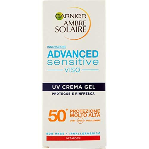Garnier Ambre Solaire Sonnenschutzcreme für das Gesicht, ideal für helle und sonnenempfindliche Haut, hypoallergen, IP50+, 50 ml, 1 Stück