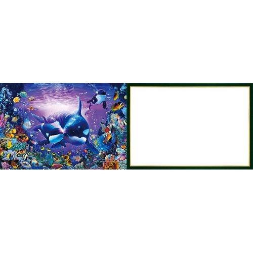 450ピース ジグソーパズル ラッセン ブリリアントパッセージ スモールピース【クリアカットジグソーパズル】(26x38cm)+木製パズルフレーム ウッディーパネルエクセレント ゴールドライン シャイングリーン(26x38cm)