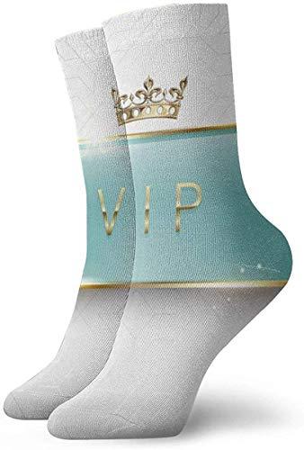 Étiquette en verre vert clair Vip avec des étincelles de cadre doré et une couronne sur des chaussettes longues de mode blanches Bas chauds doux 1 paire pour les femmes et les hommes Chaussettes de sp