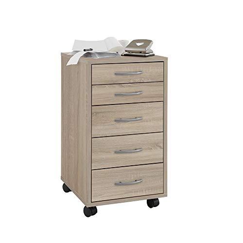 FMD furniture 336-001E, Beistellcontainer in Ausführung Eiche Nachbildung, Maße ca. 33 x 63,5 x 38 cm (BHT), Melaminharz beschichtete Spanplatte