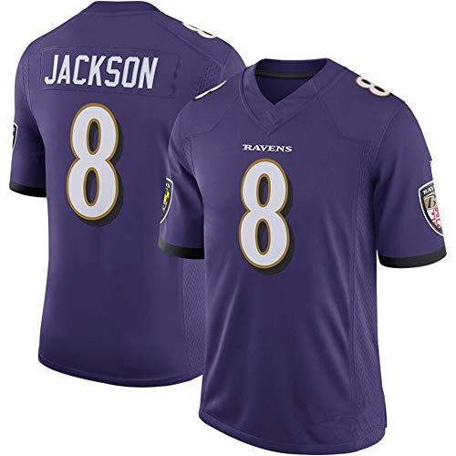 NIDAYE Herren American Football Jersey #8 Baltimore Ravens Sport Sweatshirt Shorts Fitness Freizeitkleidung schnelltrocknend Gr. XL (85/95 kg), violett