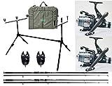 kolpo Kit Combo Carpfishing 2 Canne 2 Mulinelli Camo 2 Segnalatori 1 Pod Pesca Carpa 1 materassino slamatura