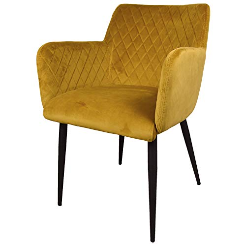 Damiware Rose Stuhl | Design Wohnzimmerstuhl Esszimmerstuhle Bürostuhl mit Stoffbezug | (Samt Ockergelb)