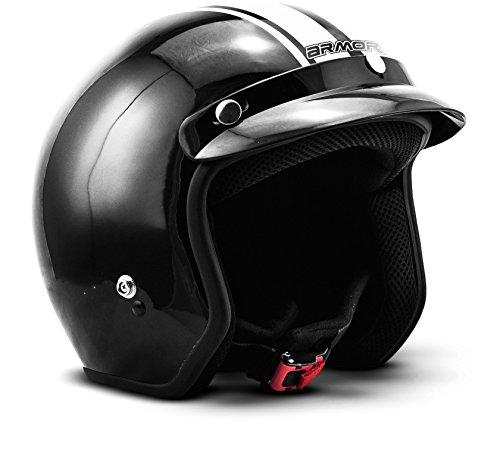 "ARMOR Helmets® AV-47 ""Black White"" · Jet-Helm · Motorrad-Helm Roller-Helm Scooter-Helm Moped Mofa-Helm Chopper Retro Vespa Vintage Pilot Biker · DOT Schnellverschluss Tasche M (57-58cm)"