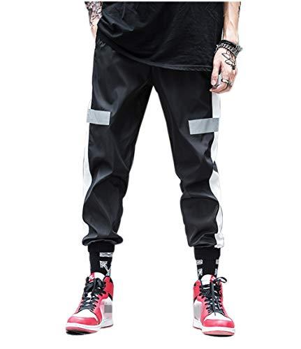 Heren reflecterende hip hop broek vrijetijdsbroek jogging training broek strepen sportbroek