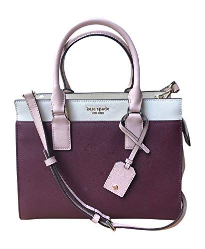 Kate Spade New York Cameron Medium Satchel Purse (Cherrywood/Soft Limestone/Warm Vellum)