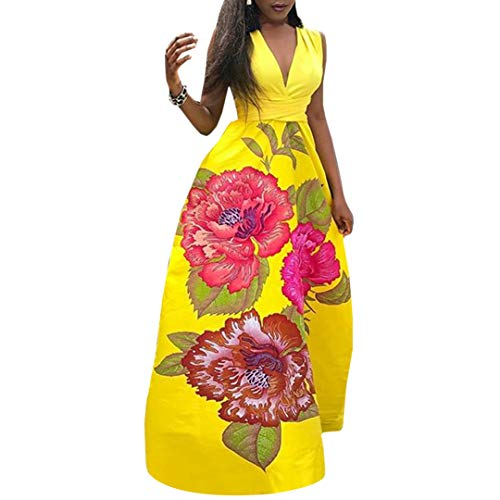 Mocure Afican Skirt One-Piece Floral Print Deep V Evening Dress Party Dress Pleated Swing Dress for Women Yellow