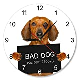 HIDFQY Dachshund Cup Shot Reloj de Pared Personalizado Nombre del Perro Reloj de Pared Moderno Divertido Criminal Puppy Police Bad Dog Prison Jail Pet Watch Frameless No Custom