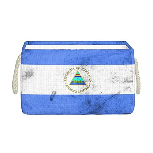 Aufbewahrungskörbe, Flagge von Nicaragua, Aufbewahrungskorb, faltbar, dekorative Körbe, Organisationsbox mit Handgriffen für Kleidung, Regal, Zuhause, Schrank, Schlafzimmer, 40 x 25 x 20 cm
