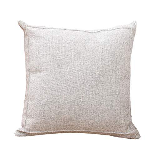 YONGYONG Simple Couleur Unie Épais Coton Et Lin Oreiller Salon Canapé Coussin Oreiller Bureau Arrière Oreiller Lombaire (Color : White)