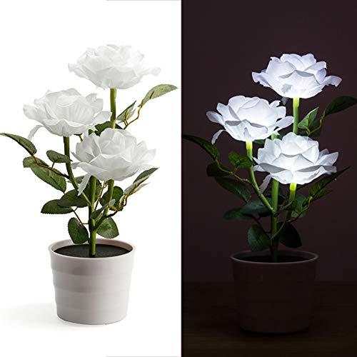 szlsl88 tafellamp LED balkon nachtkastje huistuin decoratieve slaapkamer bloempot kunstmatige plant op zonne-energie gazon (wit)