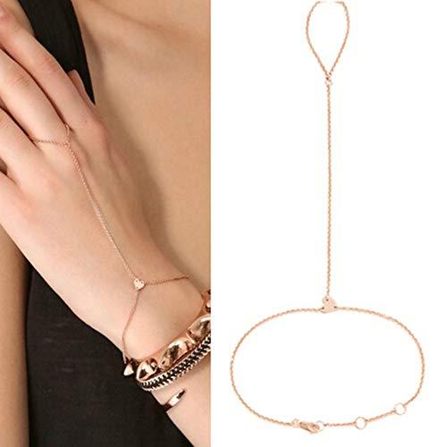 Pulseras brillantes para mujer, pulseras de moda, corazones, arneses de mano, anillo para dedo, anillo de esclavo, pulsera, pulseras para mujeres y hombres