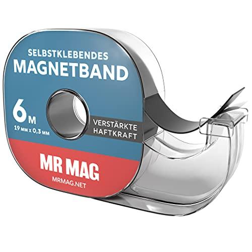MrMag® Magnetband selbstklebend - 6m - hochwertiges Magnet-Klebeband im Spender für Magnetstreifen mit starker Klebekraft