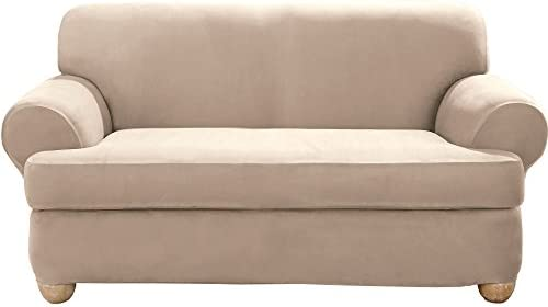 Best SureFit Stretch Suede - Loveseat Slipcover - Taupe