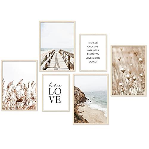 Moderno juego de pósteres – Beige Love playa cuadros juncos salón póster dormitorio decoración – Juego de 6 sin marco (4 x A3 | 2 x A4)