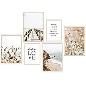 Moderno juego de pósteres – Beige Love playa cuadros juncos salón póster dormitorio decoración – Juego de 6 sin marco (4 x A3   2 x A4)