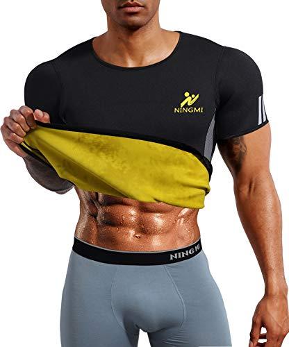 Mens Waist Trainer Vest Hot Sweat Shirt Body Shaper Neoprene Sauna Suit Workout Cami for WeightLoss Tummy Fat Loss Black