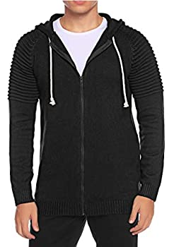 Aibrou Men s Casual Full Zip Cardigan Sweater Pleated Sleeves Hooded Knitted Sweatshirts  Black,L