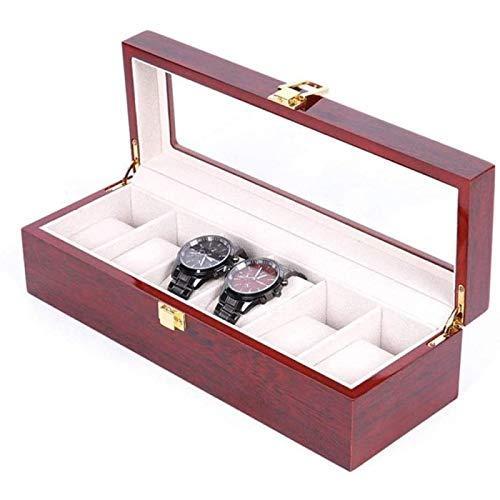 YIJIN Caja de Almacenamiento Caja de Reloj Caja de Presentación de Reloj de Madera Caja de Vidrio Techo Solar Caja de Almacenamiento de Reloj Caja de Reloj Caja de Joyería