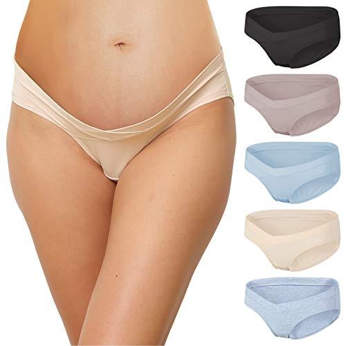 INNERSY Bragas para embarazo, de algodón, con cintura baja, en forma de V, paquete de 5 Multicolore Scuro 44