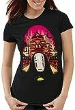 style3 Sin Rostro Camiseta para Mujer T-Shirt Viaje de Chihiro Anime Manga, Talla:S