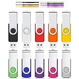 Clé USB 16 Go Flash Drive 10 Pack de Cardfuss USB 2.0 Flash Memory Stick Stockage Disque Rotatif USB Flash Drive avec indicateur LED (Couleurs mélangées avec des Cordes)
