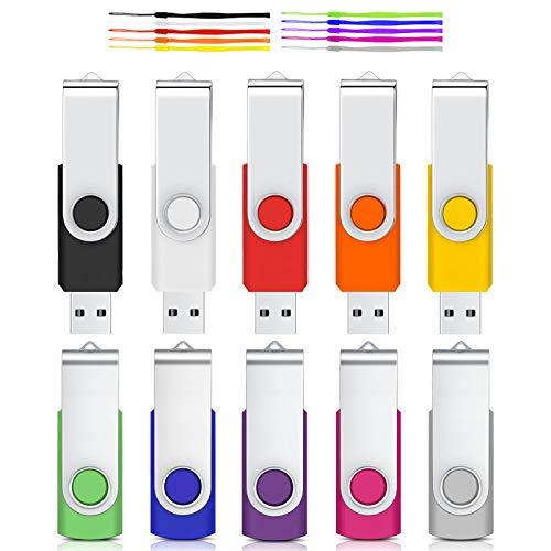 Chiavetta USB 8GB 10 Pezzi Pen Drive Cardfuss USB 2.0 Girevole Pennetta Portatile Unità Memoria Flash (Multicolore con Corda)